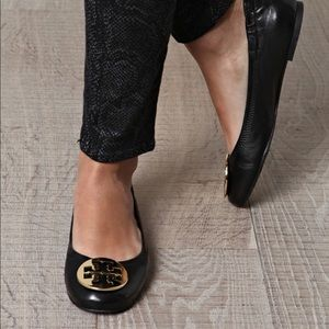 Tory Burch Reva Black Leather Ballet Flats Size 8
